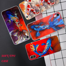 Silicone Phone Case Chinese Koi Fishes Fashion Printing for iPhone XS XR Max X 8 7 6 6S Plus 5 5S SE Phone Case Matte Cover стоимость