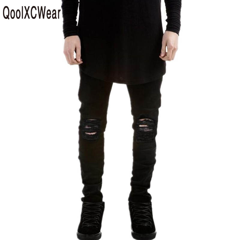 QoolXCWear  NEW Jeans Men Black Ripped Jeans Pants Brand Designer Distressed Denim Joggers Man Destroyed Jean Trousers fashion brand designer mens torn jeans pants hi street ripped denim joggers gray distressed jean trousers man streetwear lq076