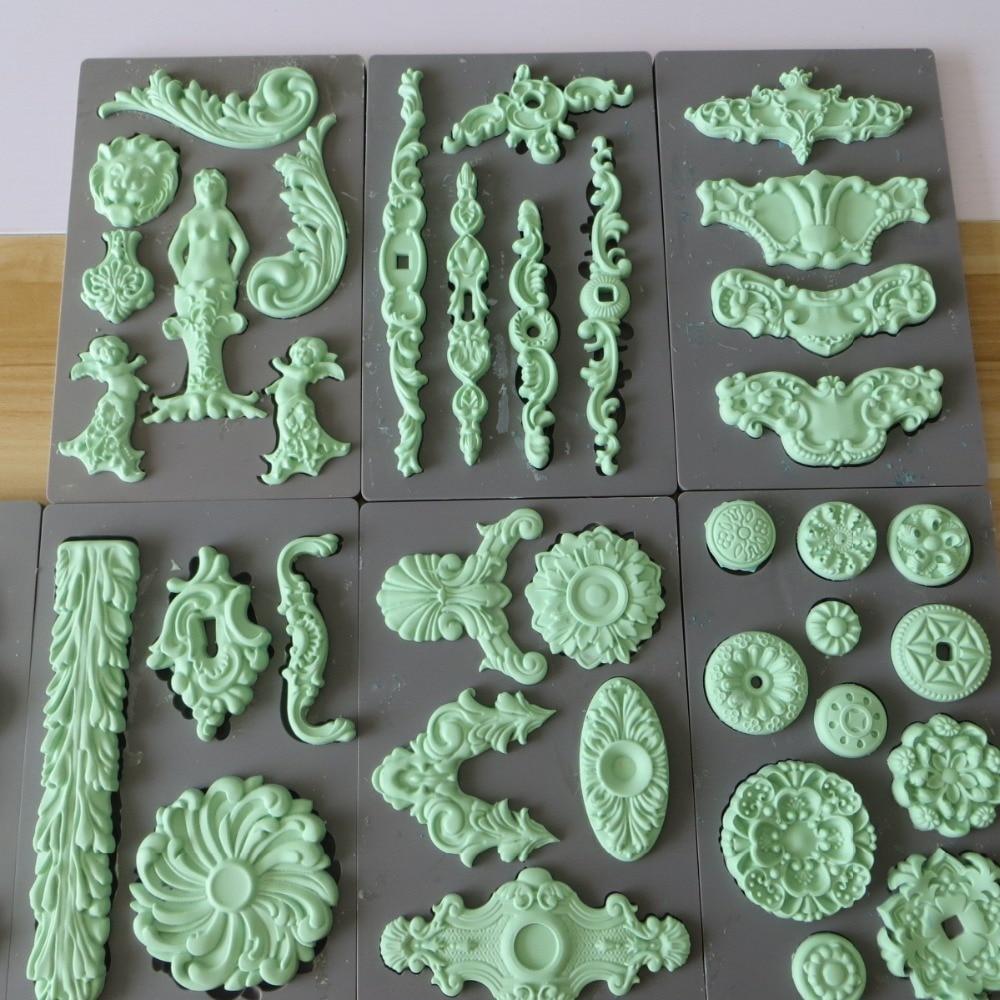 Fondant molde de silicona pastel de molde sugarcraft cake molde ángeles los alimentos arcilla grado vintage art decor moldes 27 estilos moldes
