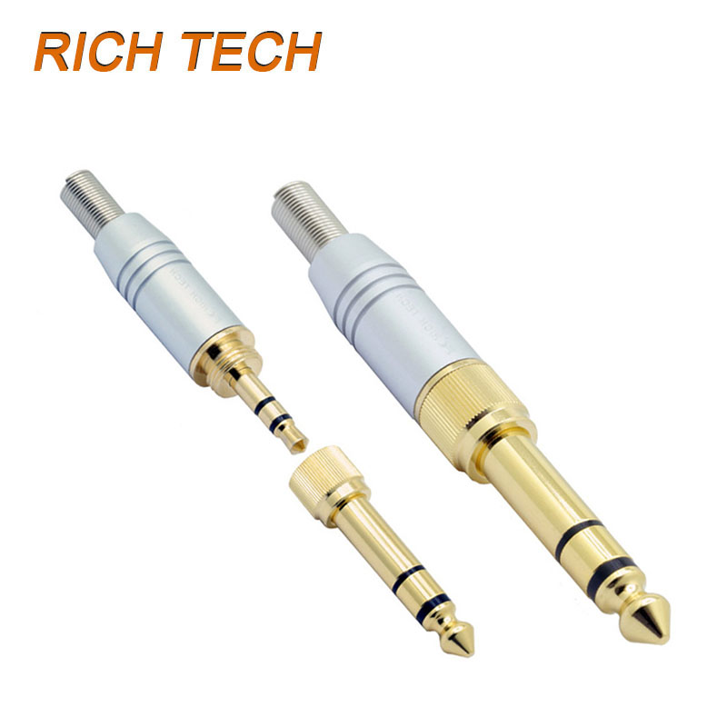 4pcs/lot 3 poles 3.5mm stereo male plug screw-in 3.5mm female jack to 3 pole 6.35mm plug adapter 2 in 1 audio connector 1pcs 6 35mm plug 6 5mm 1 4male plug to 3 5mm 1 8female jack stereo headphone audio adapter trs 6 35 to 3 5 converter