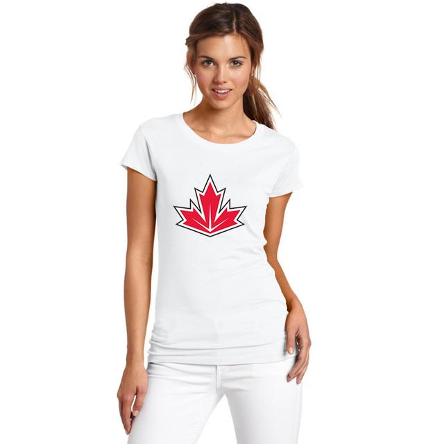 2017 de Las Mujeres de canadá del Equipo logo de la Copa Del Mundo 2016 de Hockeyes Moda Camiseta Mujer camiseta de La Muchacha de Manga Corta W1117015