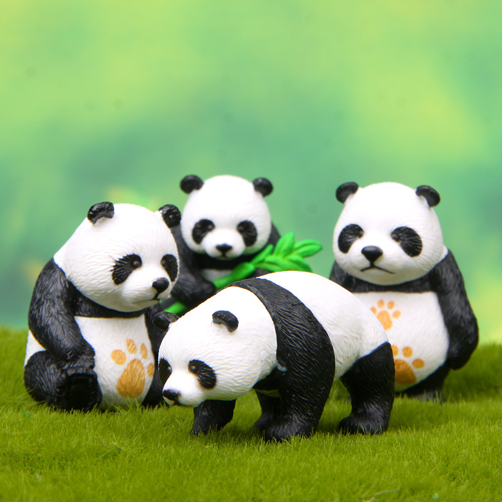Action Figures Kawaii Landscape-Decoration Birthday-Gift Kids Mini Pvc Creative Panda