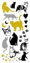 Waterproof Flash Tattoo Golden Animal Black Silver Cats Design Gold Fake Tattoo Glitter Metallic Temporary Tattoo Stickers