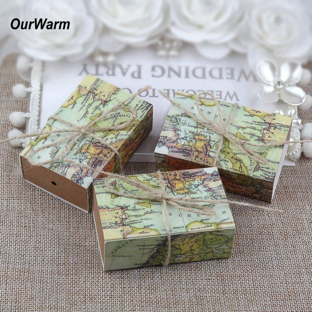 OurWarm 50pcs Exquisite Paperboard Wedding Map World Candy Box Travel Theme Favor Boxes Event & Party Decoration