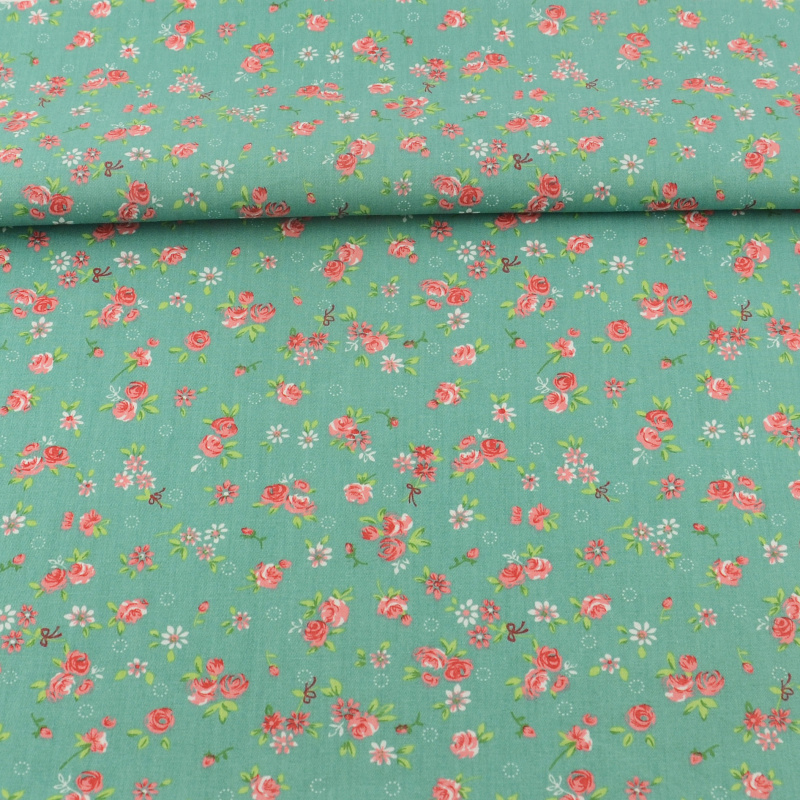 Buy cotton fabric sewing green printed for Cotton sewing material