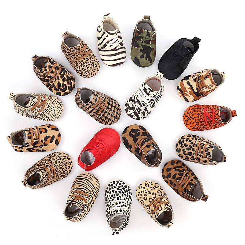 Cuir véritable bébé chaussures imprimé léopard bébé filles chaussures souples cheveux de cheval garçons premiers marcheurs dentelle bébé mocassins