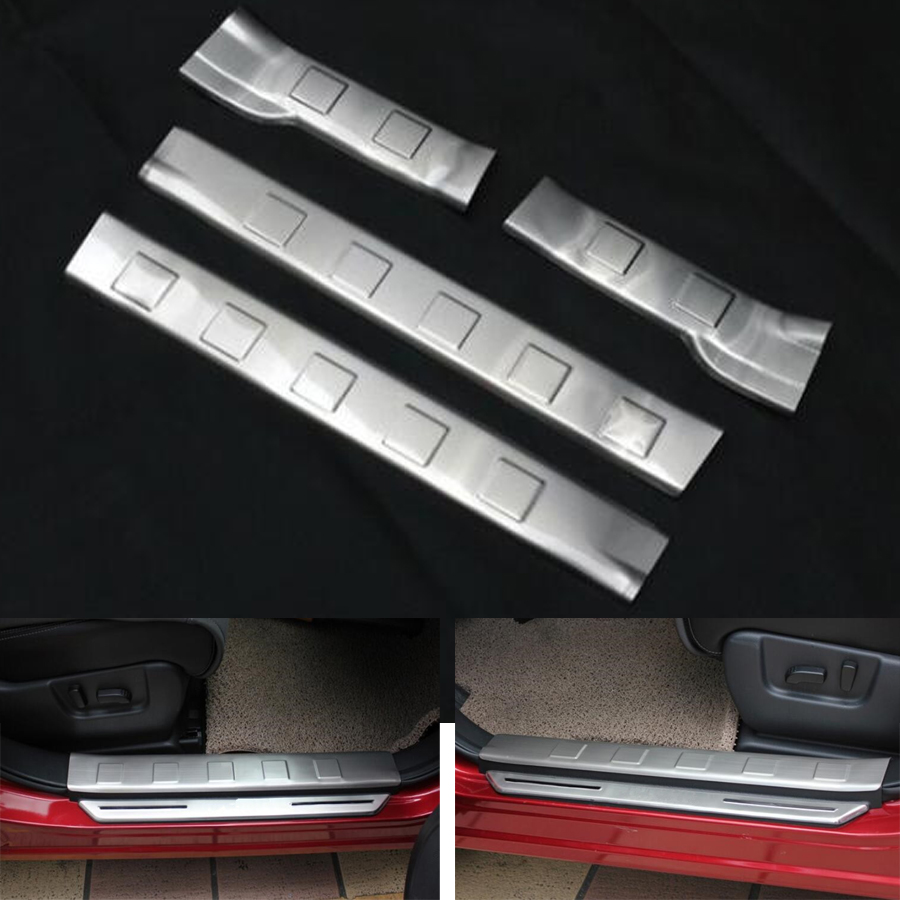 YAQUICKA 4Pcs Car Door Sill Entry Scuff Plate Guard Welcome Pedal Cover Trim Styling Sticker For Nissan X-trail 2008-2013 fit for 2014 2015 2016 2017 nissan x trail x trail xtrail t32 door sill scuff plate welcome pedal trim car styling accessories