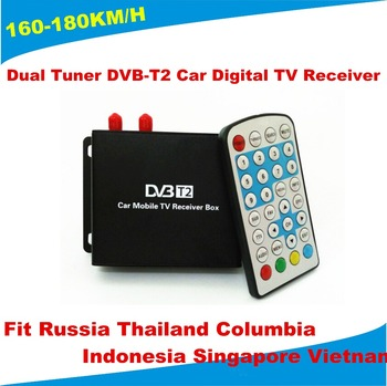 160-180km/h 1080P Mobile DVB-T2 Car Digital TV Receiver 2 Antenna DVB-T2 Car TV Receiver Fit Russian Singapore Southeast Asia 1