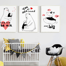 Elegant Poetry  Nordic Sweet Cartoon Animals Canvas Painting Art Print Poster Picture Wall Home Decoration