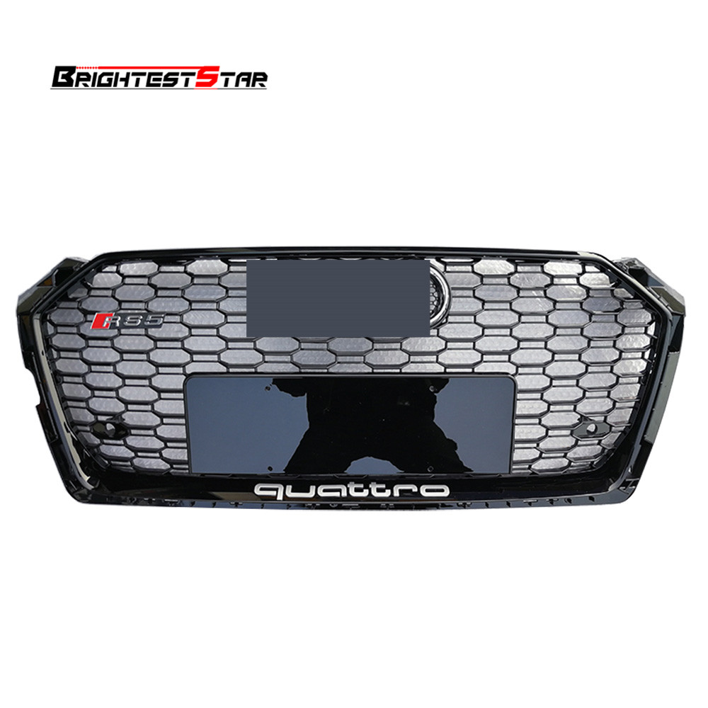 Black Front Bumper Grille Audi Grill Quattro Emblem Grill Chrome Grille A5 For Audi A5 S5 RS5 2017 2018 Sedan Coupe 1pcs 3d metal s5 car front grille adhesive emblem badge stickers accessories styling for audi a5 s5