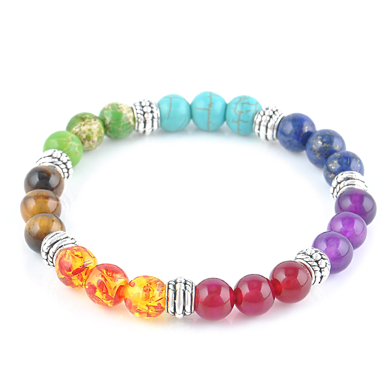 2016 new 1pc mens womens 7 chakra bracelets bangle colors mixed healing crystals stone chakra pray