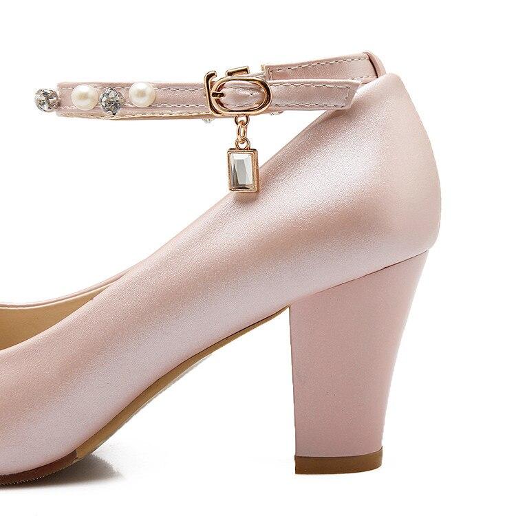Diamante Pequeño Tacones 40 Princesa 33 Palabra 2017 32 blanco Mujeres Negro rosado Solo Con Cuentas Hebilla 43 Nueva Altos Tamaño Zapatos Grueso T8cqI7