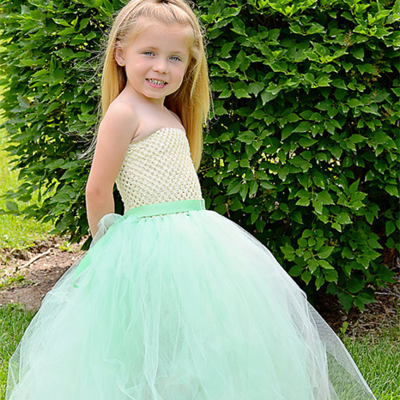 Pretty Mint Green Girls Dress Fluffy Chiffon Princess Baby Girls Tutu Dress Children Summer Flowers Long Maxi Dresses ободки pretty mania ободок
