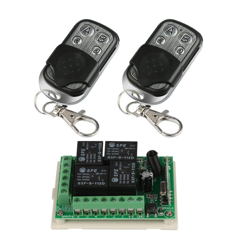 QIAHCIP 433Mhz Wireless Remote Control Switch 4 CH relay Receiver Module and 4 buttons RF Transmitter 433 Mhz Remote Controls H3 wireless pager system 433 92mhz wireless restaurant table buzzer with monitor and watch receiver 3 display 42 call button