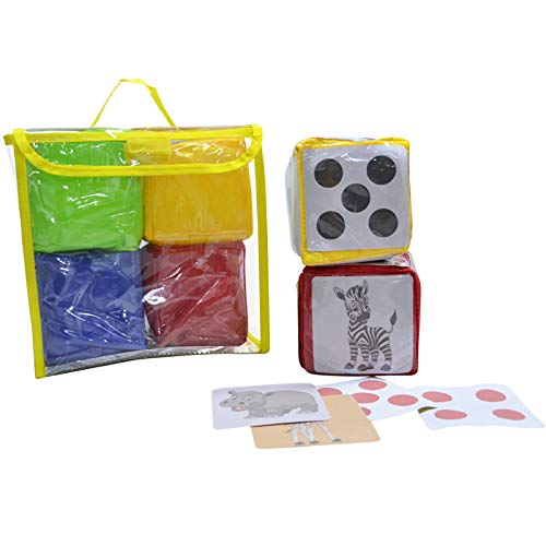 Godery DIY Education Playing Dice, Pocket Cubes ,Photo Pocket Foam Stacking Blocks - Set Of 4