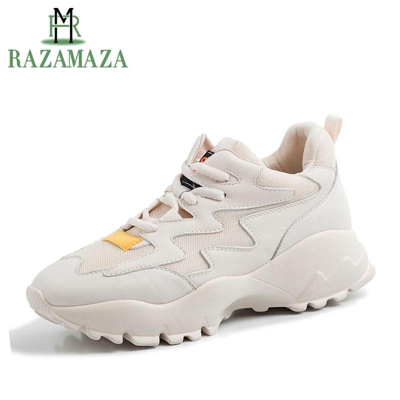RAZAMAZA Ins célébrité en cuir véritable baskets femmes maille respirante plate-forme chaussures décontractées Femme vulcanisé chaussures taille 35-42