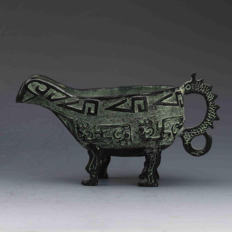 Coupe de gobelet de vin de Dragon sculpté à la main en Bronze chinois à collectionner