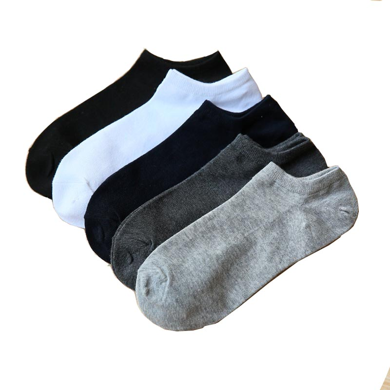 100% Cotton Black Short Socks For Men Spring Summer Thin Low - Top Short Men's Socks Size39-43 High Quality Sox 5 Pairs/Lot 2019