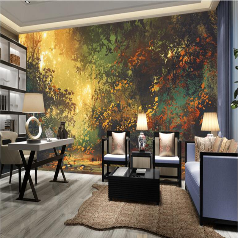 Custom Photo Wallpaper Sunset and Trees Illustration forest Mural Wallpaper Kids Room Wallpaper Bedroom Decoration Kids Wall Art flame trees of thika