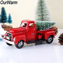 OurWarm Christmas Red Metal Truck Vintage Truck Christmas Table Decor Handcrafted Kid Birthday Gift Table Top Decor For Home