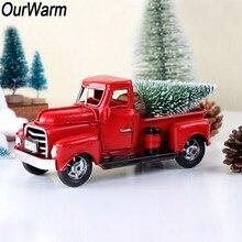 OurWarm boże narodzenie czerwona metalowa ciężarówka Vintage ciężarówka boże narodzenie wystrój stołu ręcznie Kid urodziny prezent blat wystrój domu
