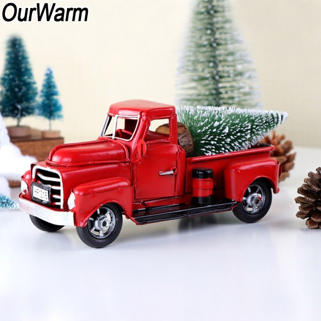 OurWarm عيد الميلاد شمعدان معدني أحمر شاحنة خمر شاحنة عيد الميلاد ديكور للطاولات يدويا طفل هدية عيد ميلاد الجدول الأعلى ديكور للمنزل