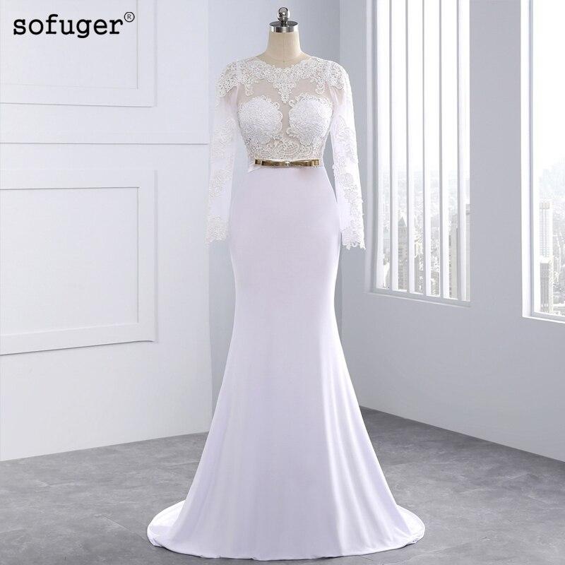 Sheer Lace Long Sleeve Satin Mermaid Wedding Dresses