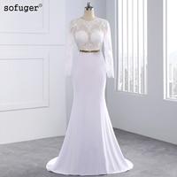 2015 Elegant Sexy Wedding Dresses Satin Bridal Events Gowns Vestidos De Noiva New Arrival Long Sleeve