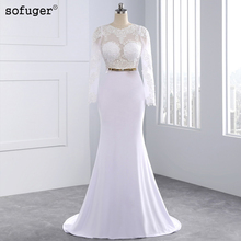 2015 Elegant Sexy Wedding Dresses Satin Bridal & Events Gowns Vestidos De Noiva New Arrival Long Sleeve Sheer Lace Mermaid Gown