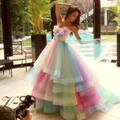 Real Image Amazing Rainbow Wedding Dresses 2016 Colorful Handmade Flowers Bridal Gowns Tiered Tulle Robe De Mariage Bride Dress