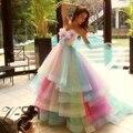 Vestidos de Casamento Real Imagem Amazing Rainbow 2016 Coloridos Feitos À Mão Flores Vestidos de Noiva Em Camadas de Tule Robe De Mariage Vestido de Noiva