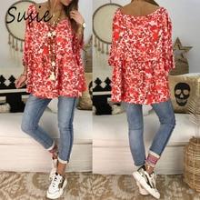 Women 2019 Summer Vintage Floral Print Boho Holiday Blouse Short Sleeve Loose Shirt Tops Plus Size