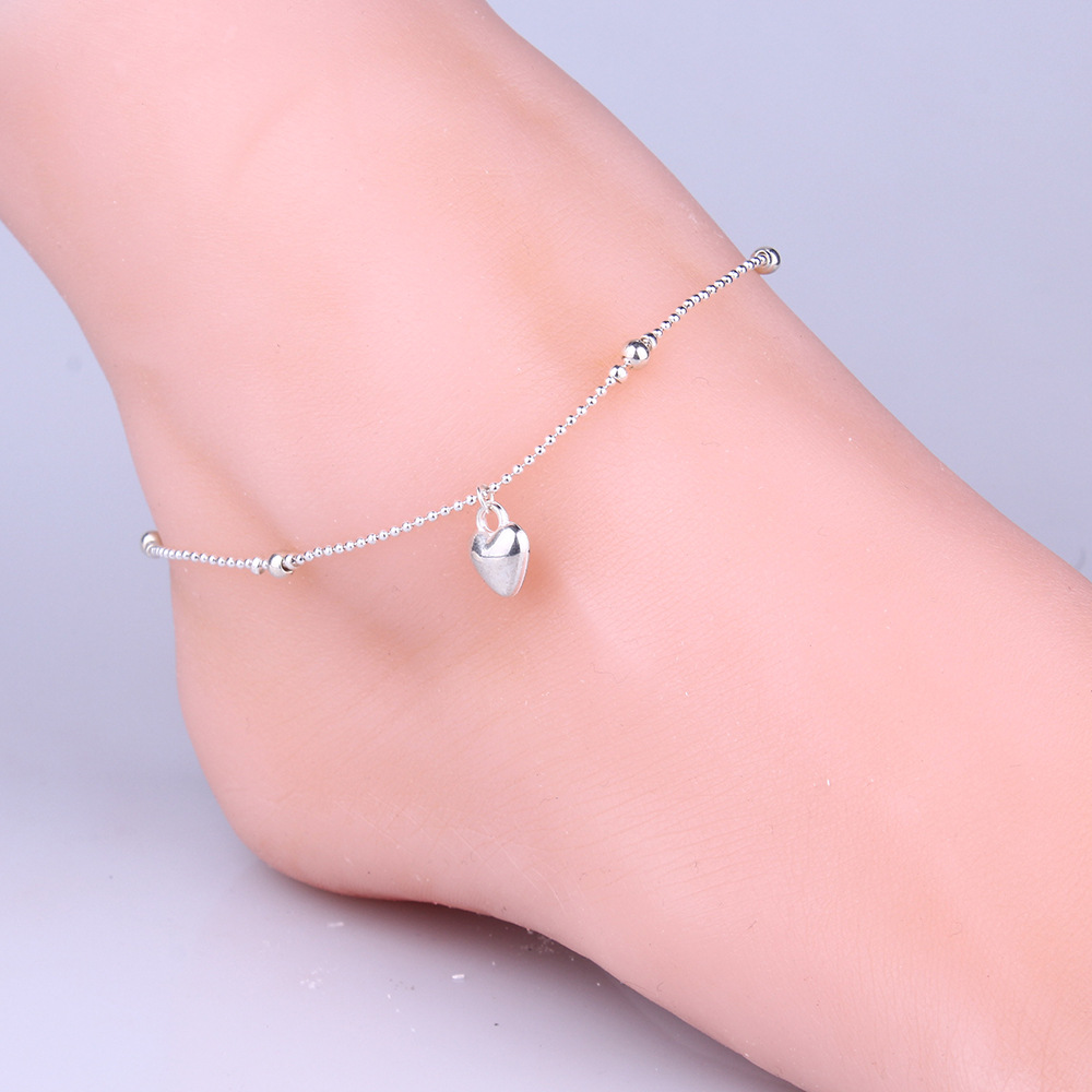 fashion simple silver foot ornaments beads peach heart beads