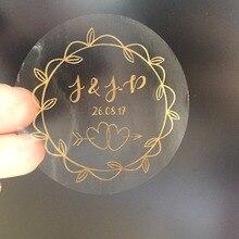 90 hojas de oro vintage compromiso de la boda personalizado texto pegatinas Oliva guirnalda recuerdos de bodas Etiqueta de invitación envolver sello
