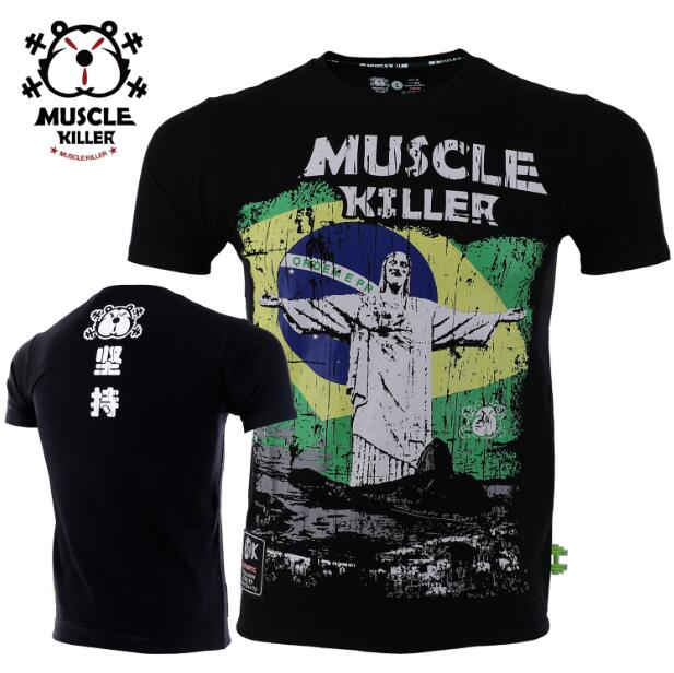 Muscle Killer Jesus Printed Popular Logo Summer Training Clothing Hot Style Elastic T-shirt Male Fitness Exercise Short Sleeve