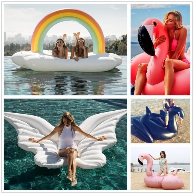 Giant Pool Inflatable Flamingo Float Unicorn Ride-On Swimming Ring
