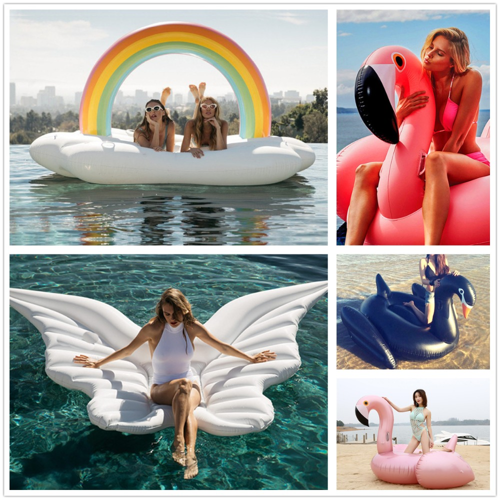 Epacket DROP SHIPPING 240CM Giant Inflatable Flamingo Pool Float unicorn Ride-On Swimming Ring Water Holiday Party Toys Piscina