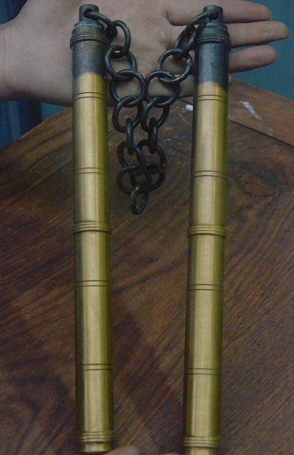 33 старая коллекция китайские кунг фу чистая бронза Nunchakus Единоборства реквизит оружие