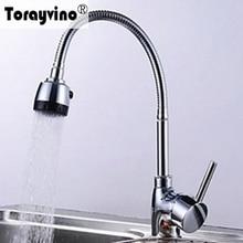 Torayvino Polished Chrome Dual Spout Kitchen Sink Faucet Single Handle Hot  U0026 Cold Water Kitchen Mixer Tap,Kitchen Faucet