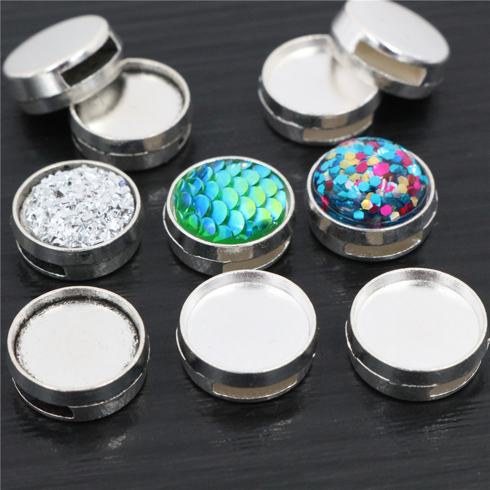 16pcs 12mm Inner Size Antique Silver Plated Fashion Style Cabochon Base Cameo Setting Charms Pendant For 8mm Leather Bracelet