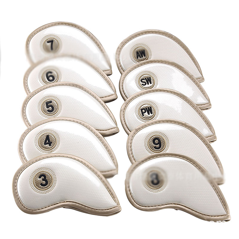 10pcs 3/4/5/6/7/8/9/PW/AW/SW Printed Soft PU Golf Iron Club Head Ball Putter Protection Cover Golf Training Aids Gift For Golfer