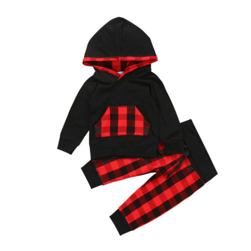 2PCS Toddler Kids Baby Girl Boy Clothes Sets Plaid Packets Hooded Hoodies Casual Long Pants Warm Outfits Set Spring Wimter