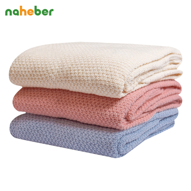 Cotton Baby Blanket Soft Knitted Blanket For Kids Breathable Infant Swaddle Stroller Cover Baby Wraps Size 80X140cm 7 Colors printed knitted baby blanket kids adults infant throw knit blankets bed cover plaids sofa towel blanket size 110 130cm