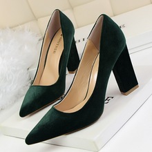 2016 Sexy Black Flock Simple Women Shoes Thick High Heel Platform Woman Pumps Summer Pointed Toe Ladies Wedding Shoe