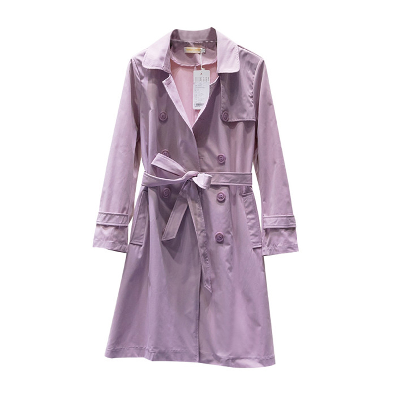 Spring Autumn   Trench   Oversized Coat Women Casual Cotton Long   Trench   Lacing Double-breasted Windbreaker Female Belt Slim 5XL 2830
