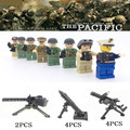 8PCS WW2 The Pacific War Japan VS US Navy Army Soldiers Mifigures Building Blocks Set Military Figures Educational Toys For Kids