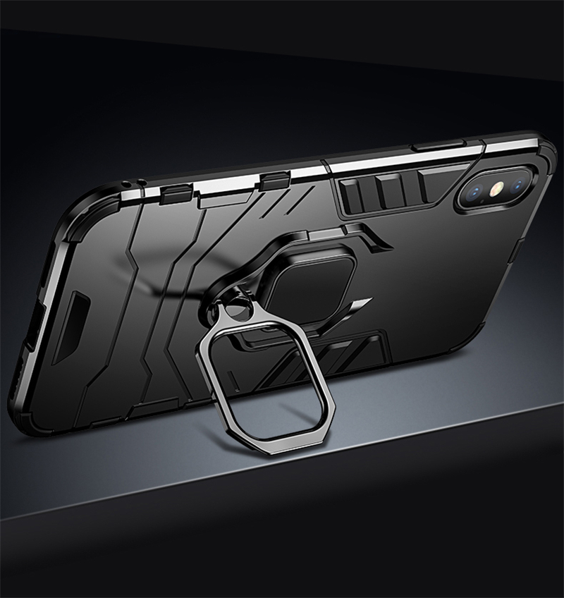 Luxury Armor Shockproof Kickstand Phone Case For iPhone XS MAX XR XS X 8 7 6S Plus 5S SE Ring Stand Holder Bracket Cover Funda (2)