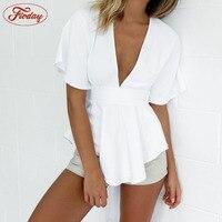 Sexy V Neck Open Back White Blouse Women Summer 2017 Short Sleeve Blouse Shirt
