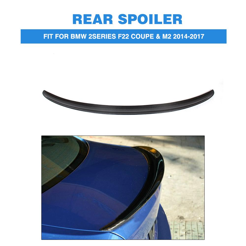 P style carbon fiber car Rear Trunk Boot lip wing spoiler Sticker for BMW 2 Series F22 220i M235I 228I M2 14-17 FRP Unpainted 2 series carbon fiber car front bumper lip spoiler for bmw f22 m sport coupe only 14 17 convertible 220i 230i 235i 228i p style