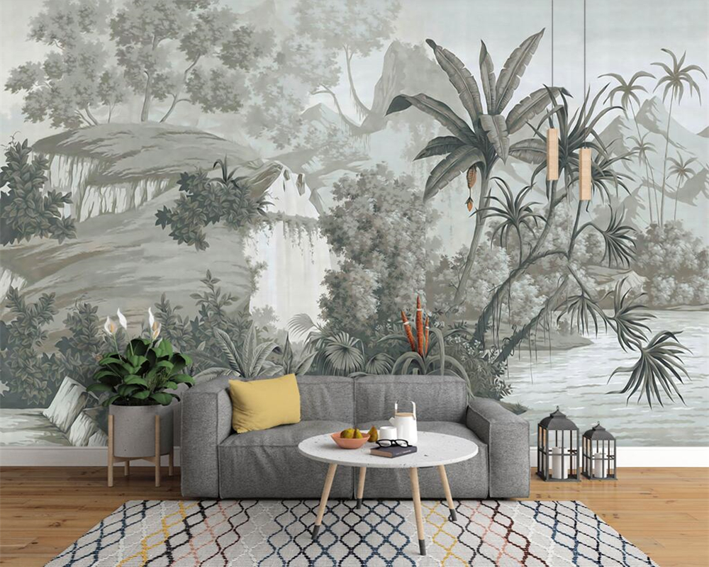 Beibehang Custom Wallpaper European Retro Nostalgic Hand Painted Rainforest Banana Palm Sofa TV Mural Background 3D Wallpaper